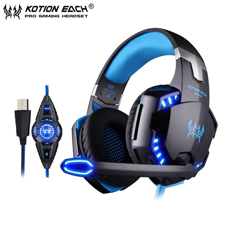EACH G2200 Vibration USB 7.1Surround Sound Gaming Headphone Noise cancelling Headset Headband with Mic LED Light for computer PC(China (Mainland))