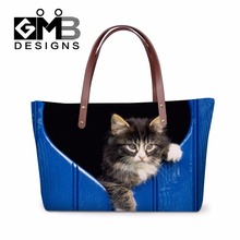Discounted Hand Bags Personalized Animal Print Shoulder Handbags Cat Tote Bag for Girls Cute Large Messenger bag One Side bags(China (Mainland))