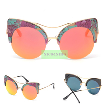 New model 2018 New Printed Big Round Frame Coating Eyewear Vintage Fashion Summer Sunglasses Women Brand Designer oculos de sol