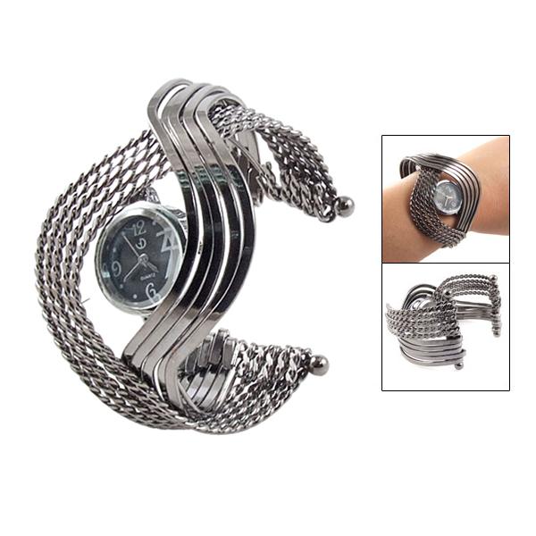 Гаджет  New Queen! Round Black Dial Arabic Number Metal Twist Bracelet Wrist Watch None Изготовление под заказ