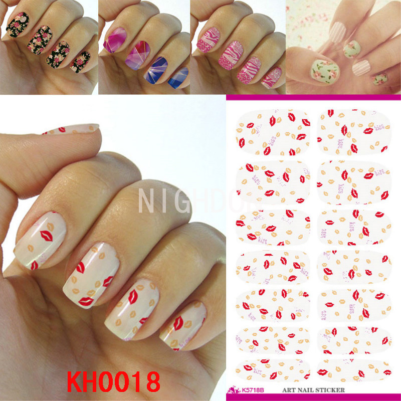 Lip Design Full Cover Nail Sticker Water Transfer Nail Decoration Nails Art Toenails Water Decals Nails Decal Stickers NKH0018(China (Mainland))