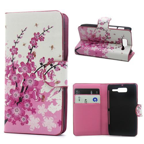 Pink Plum Design Leather Credit Card Wallet Flip Cover Case For Moto Motorola RAZR D3 XT920 Phone Bags Cases Free Shipping(China (Mainland))
