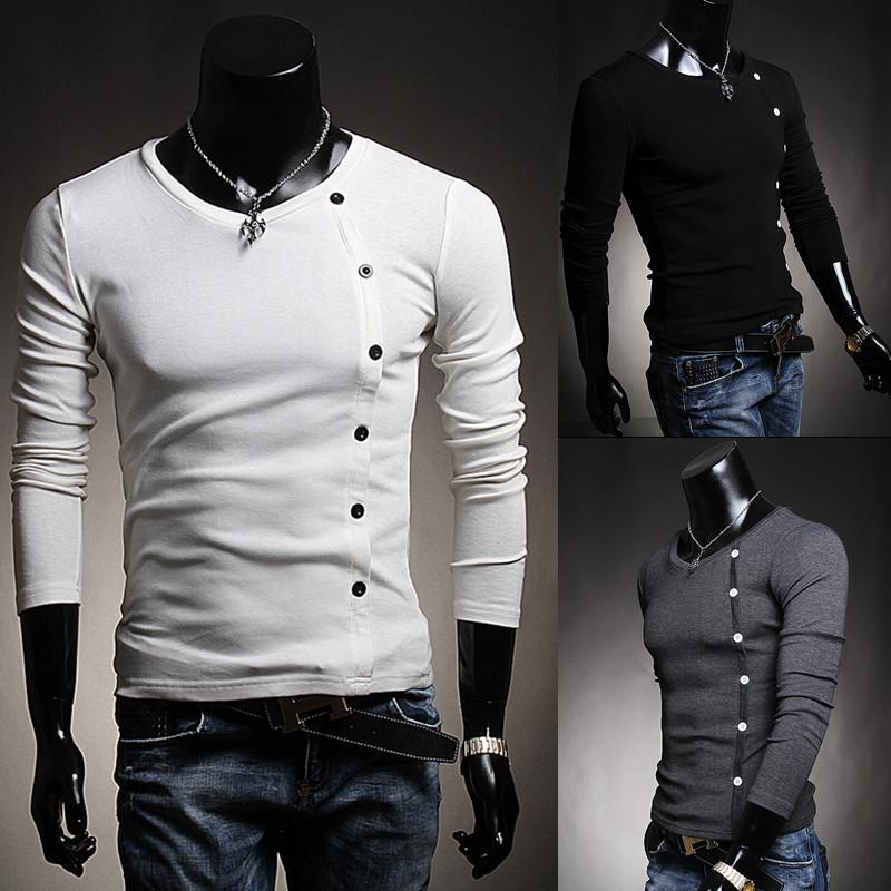 For men's clothing wholesale money Mens Long Sleeve T-Shirt slant buckle decoration tricolor item T06(China (Mainland))