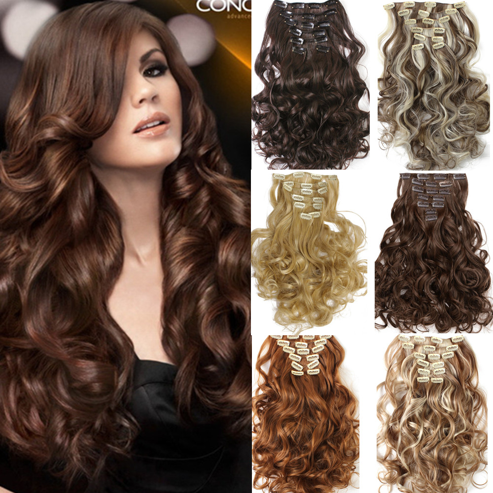 1Set Clip On Hair Extension 50cm 20inch 7pcs/set Natural Hairpieces Hair Style Wavy Curly Synthetic Clip In Hair Extensions 999(China (Mainland))