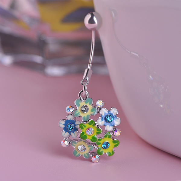 Enemal Colar Crystal Flowers Piercing Navel Belly Button Rings Body Piercing Gothic Accesorries(China (Mainland))
