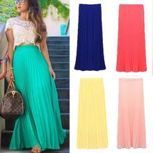 FanShou Free Shipping New 2014 Spring Summer Fashion Long Chiffon Skirts Female Candy Color Pleated Maxi Womens Skirts 5024(China (Mainland))