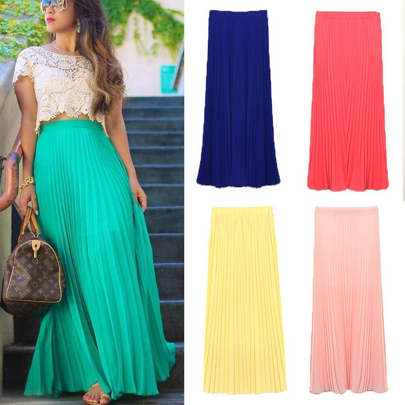 FanShou Free Shipping New 2014 Spring Summer Fashion Long Chiffon Skirts Female Candy Color Pleated Maxi Womens Skirts 5024(China (Mainland))