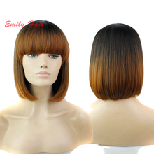 Capless synthetic hair wigs blonde full Bang bob lolita short wigs for black women cheap natural head resistant fiber cosplay(China (Mainland))