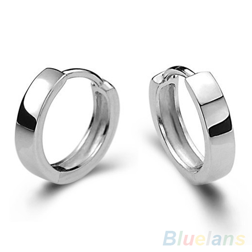 Unisex Men Women Cool 925 Sterling Silver Smooth Round Hoop Jewelry Earrings 1W6H(China (Mainland))