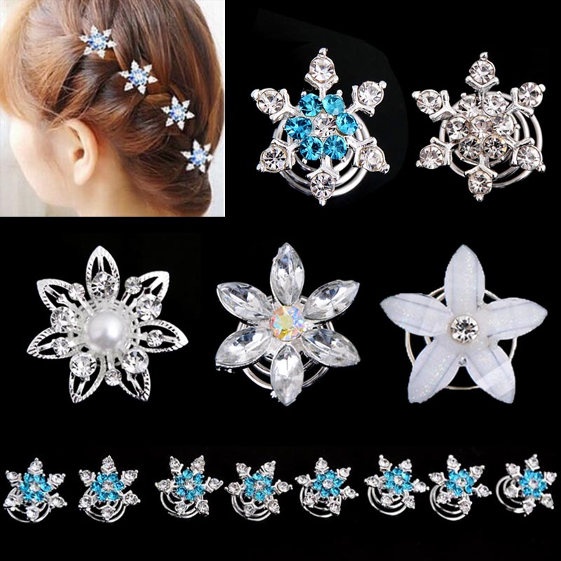 2015 Hot New Girls Bride Princess Snowflake Rhinestone Hair Clips Accessories Girl kids Hair Accessories[JH03077-JH03081/YT](China (Mainland))