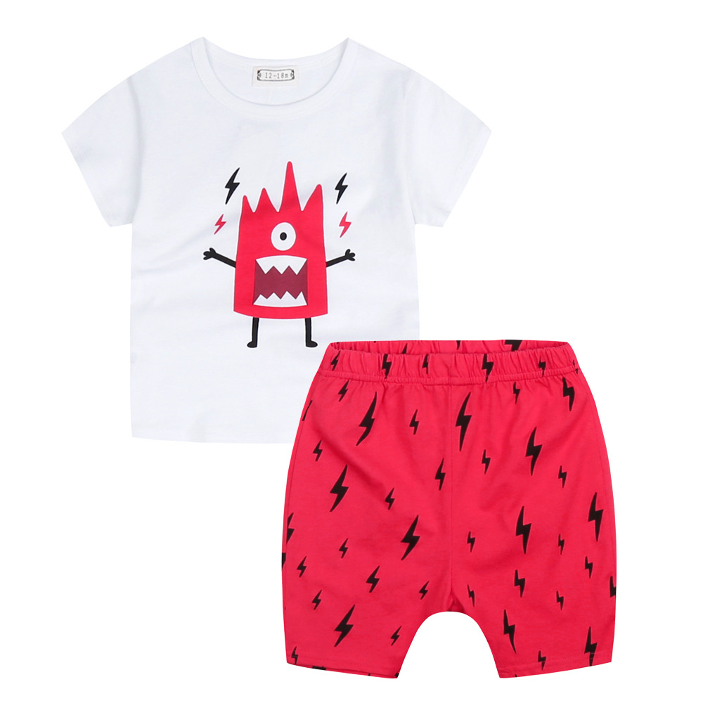 2016 Summer Baby Boys font b Girls b font Clothes Set Cotton Suit Cartoon Lightning Monster