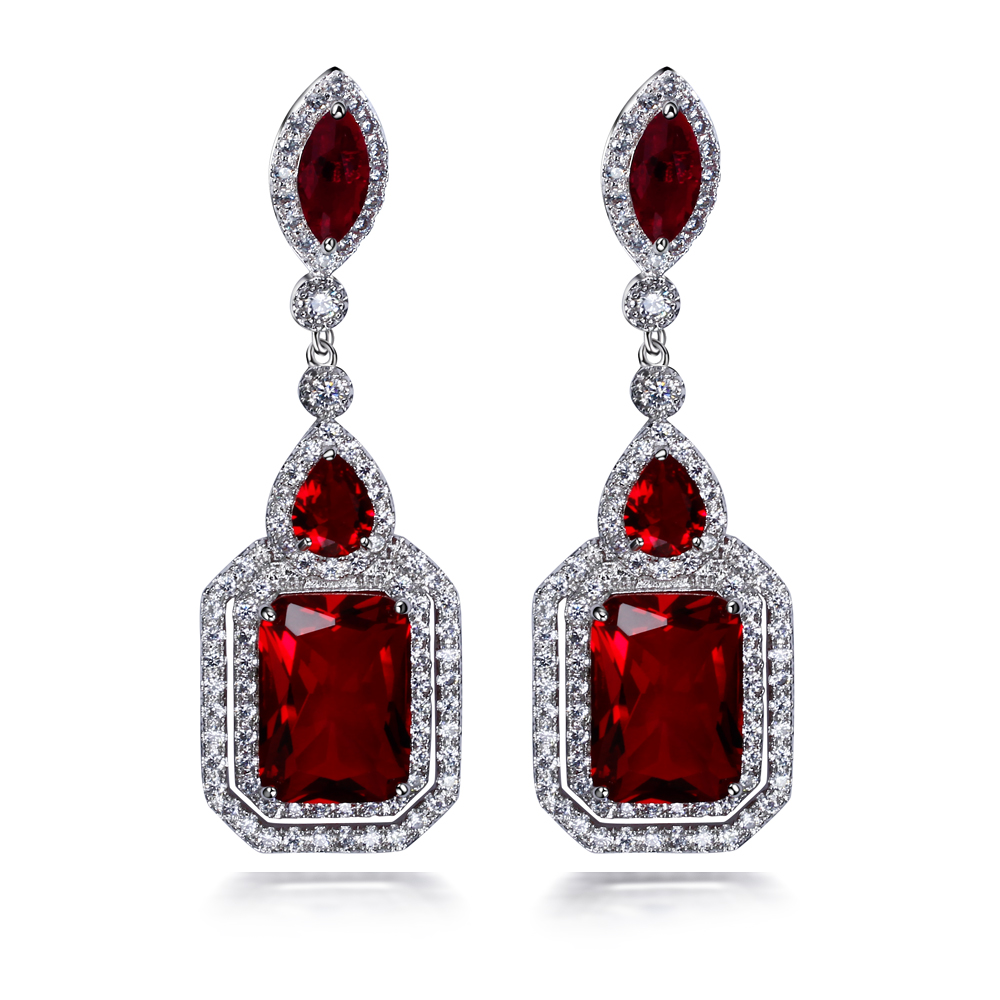 Long square shape earrings for wedding party Red and montana crystal cz platinum plate jewelry 3A cubic zirconia earrings(China (Mainland))