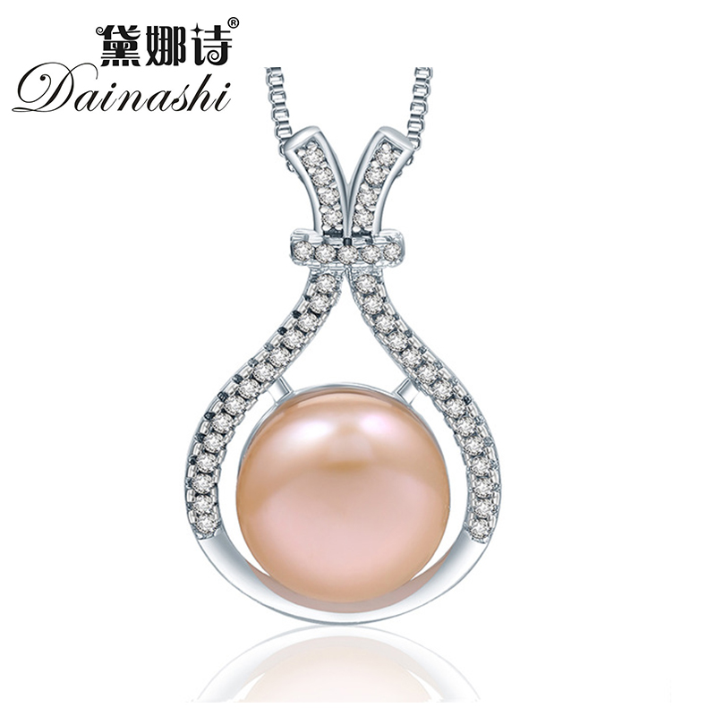Promotion 2016 new arrival AAA 10-10.5 mm size natural pearl pendant necklace for women Cubic zircon 925 sterling silver jewelry(China (Mainland))