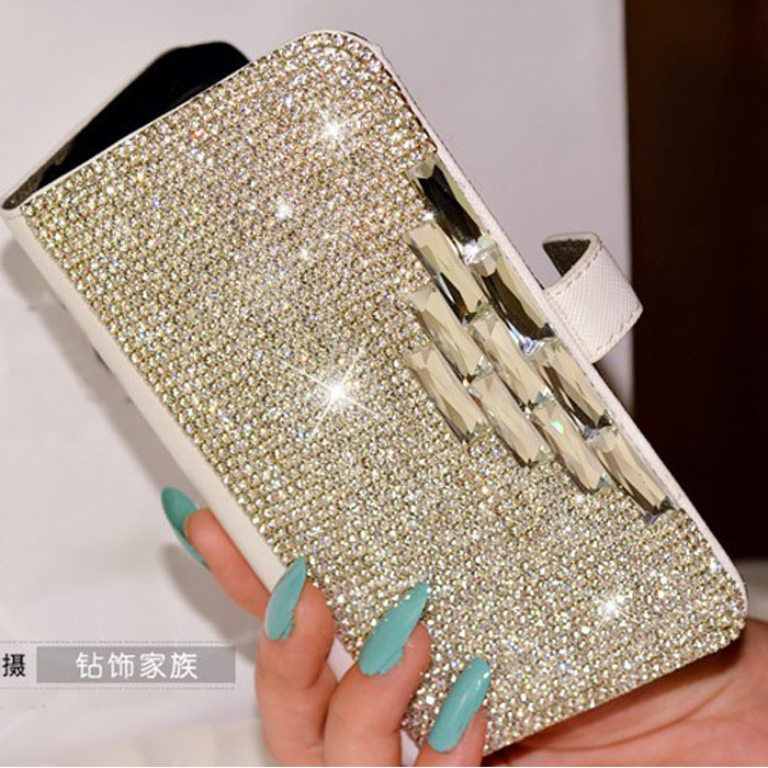 new arrival 3D Luxury Bling Rhinestone Diamond for iphone 4 4s 5 5s 5c 6 plus wallet flip leather crystal case(China (Mainland))