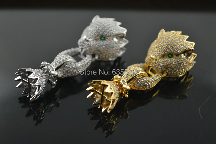 1pc Paved Cubic Zirconia CZ beads Leopard Head Charm Necklace Clasps High Qualtiy DIY Jewelry Findings Accessory(China (Mainland))