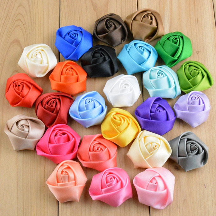 100PCS/LOT Satin Rose Flower For Headband Ribbon Fabric Flower With Flat Back Children Hair Accessories Free Shipping(China (Mainland))