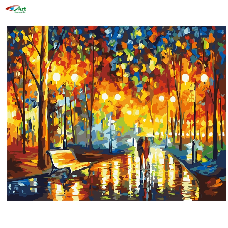 40x50cm Framed oil painting abstract drawing by numbers colorful street Digital Oil Painting On Canvas Decoration szyh066(China (Mainland))