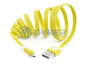 New 1m Flat Type Micro USB Extension Data Sync Charging Cable For PDA Cell Phone Free Shipping 8696