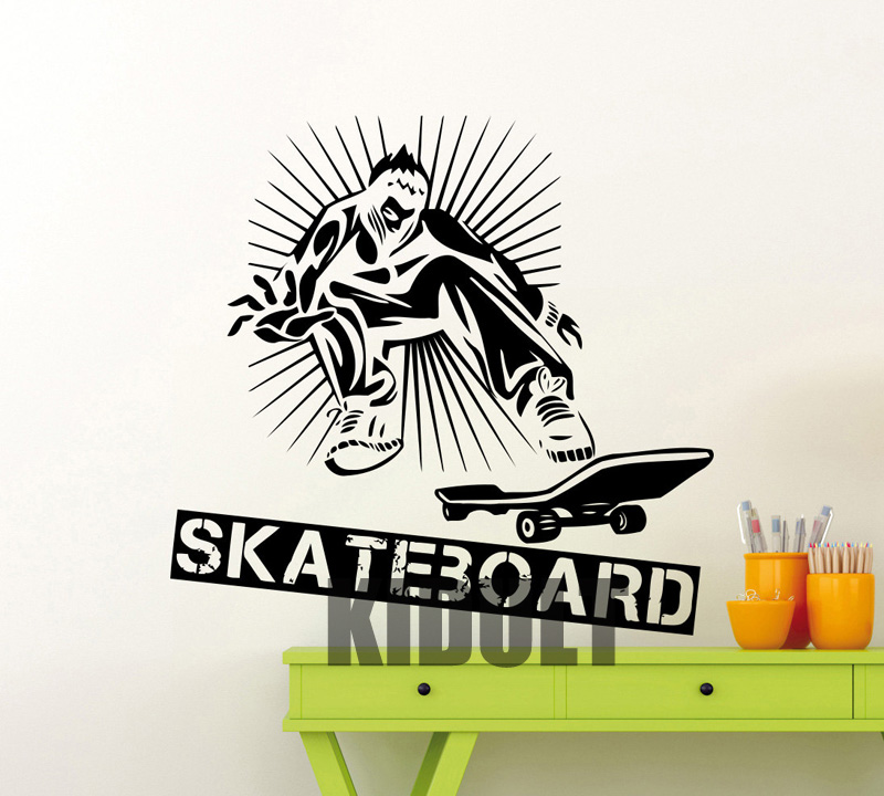 Cartoon Wall Decals Personalized Skateboard Skateboard Wallpaper Pattern Family Home-room Art Deco Wall Stickers Vinyl Stickers