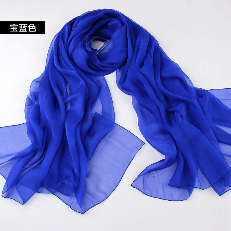 women 100% silk scarves female solid all-match scarf fashion mulberry silk shawls royal blue scarf free rectangle shipping(China (Mainland))