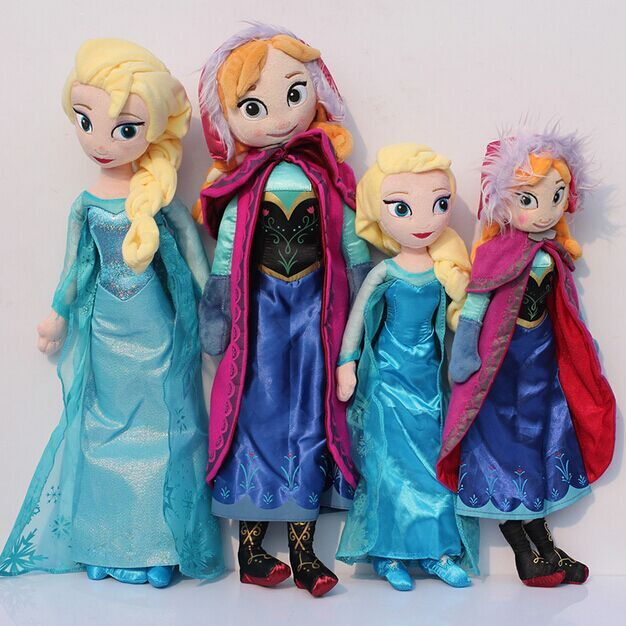 2pcs/lot 40CM and 50cm Princess Plush Toys New Princess Elsa plush Anna Plush Toy Doll 2 sizes for choosing(China (Mainland))