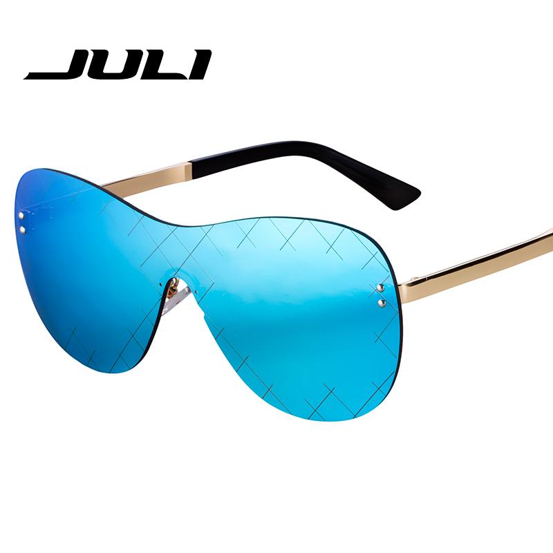 JULI Punk Rimless Style Airline Sunglasses Women Brand Design Retro Sun Glasses For Women Oversized Shield Shape Eyewear Oculos(China (Mainland))