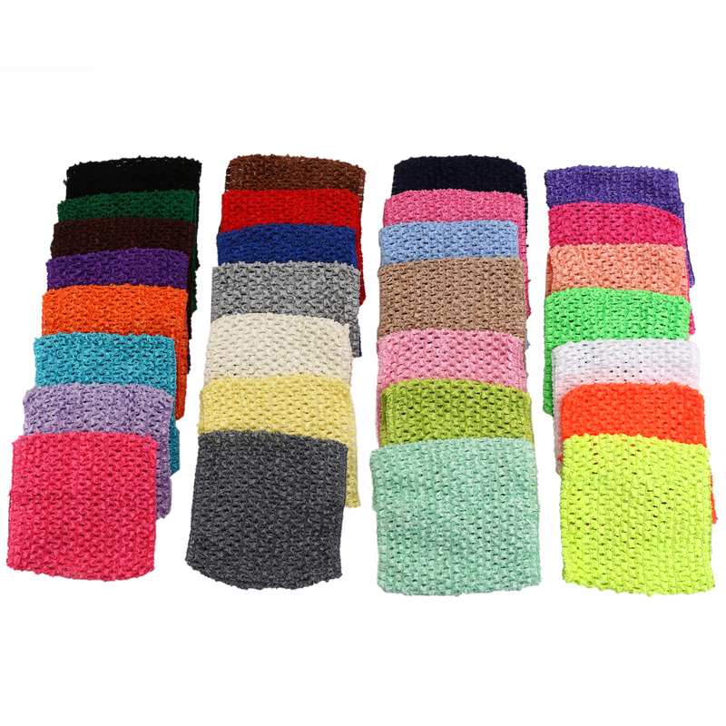 2016 New 6inches fashion Arrival 14*14cm Baby Girl Crochet Tutu Tube Tops Chest Wrap Wide Crochet headbands 30 colors can choose(China (Mainland))