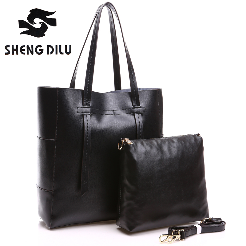 2016 New Europe Multipurpose Composite Bag Casual Solid Genuine Leather Womens Handbags Portable Bag<br><br>Aliexpress