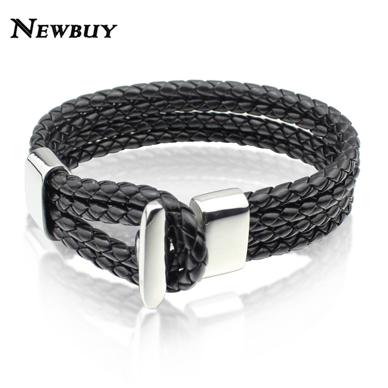 NEWBUY Brand High Quality Multilayer Leather Bracelets Bangle For Men Women European Charm Stainless Steel Clasp Jewelry(China (Mainland))
