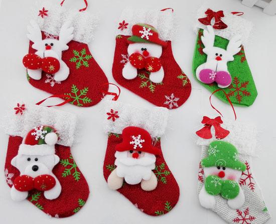Christmas Decoration 6pcs/lot Snowman&Deer Christmas Stockings Hanging Ornaments Santa Claus Christmas tree Socks Candy Bag S116(China (Mainland))