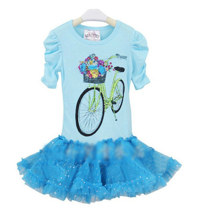 baby girls dress children costumes toddler clothing kid clothes Cartoon lace pink blue pettidress party cute pretty robe enfant(China (Mainland))
