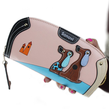 New Arrive Fashion Cute Puppy Zipper Long Wallet Cartoon Dog 6 Colors PU Leather Women Wallets Ladies Clutch Card Holder