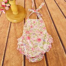 2016 Sweet Toddler Baby Kids Floral One-piece Rompers Halter Design Summer Casual Princess Cute Cotton Clothing