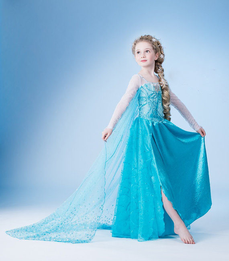 New 2015 Summer Baby Girl Dress Princess Girls Party Dresses Kids Clothes Children Clothing Vestidos Anna Elsa Cosplay Costume(China (Mainland))