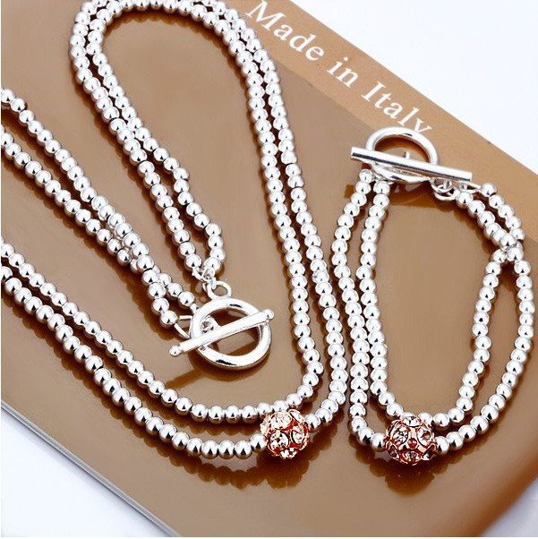 Free shipping 925 Silver Jewelry Set,Silver Bead Necklace and Bracelet Jewelry Set fit Women,Gift Jewelry Set for Christmas
