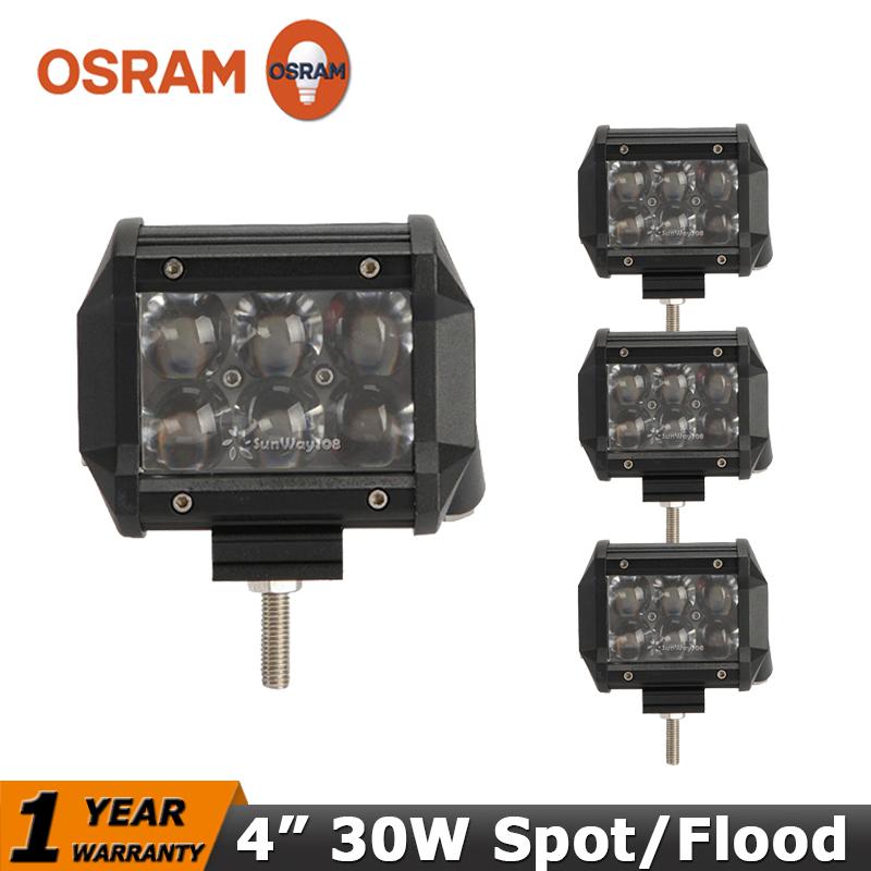 4PCS 4 inch LED Work Light OSRAM 30W Flood/Spot Trucks Wagon ATV SUV 4x4 Offroad Light Car Led Driving Light Fog Lights 12V 24V(China (Mainland))
