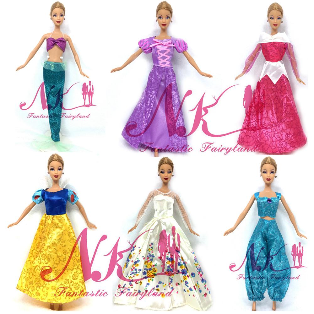 NK 5 Set Randomly  Princess Doll Costume Fairy Story Wedding ceremony Costume Robe Celebration Outfit For Barbie Doll Greatest Cosplay Ladies' Reward