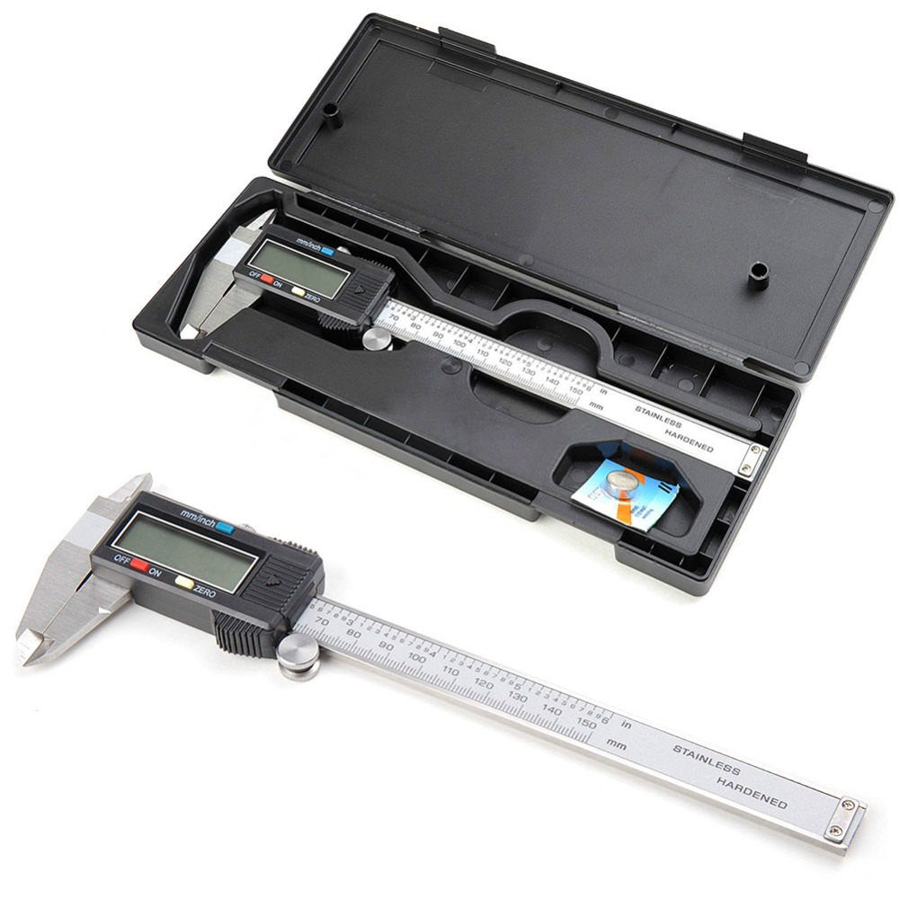 Digital Vernier Caliper 150mm/6inch With Box Stainless Steel Electronic Vernier Calipers LCD Paquimetro Micrometer E3371 T150.5(China (Mainland))