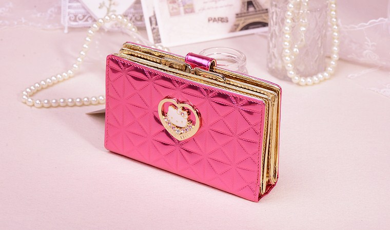 2014 New Sanrio Hello Kitty Women Wallet Leather Wallet Women Brand Coin Wallet Hello Kitty Clutch Women Purse Brand Wallet # 02(China (Mainland))