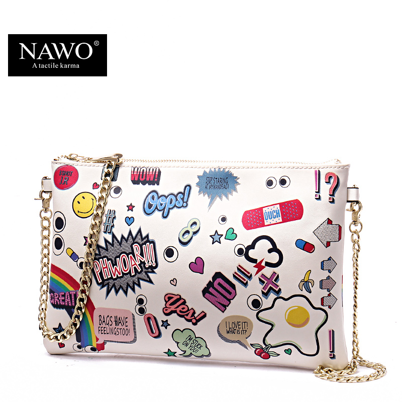 NAWO New Leather Envelope Clutch Bags Cartoon Printing Day Clutches Purse Small Chain Bag Women Cross body Bag for Girl Wristlet(China (Mainland))
