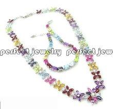 Perfect Jewelry Gem jewelry set including amethyst/citrine/topaz/ garnet/peridot/sapphire/ruby 925 sterling silver set # AL7077(China (Mainland))