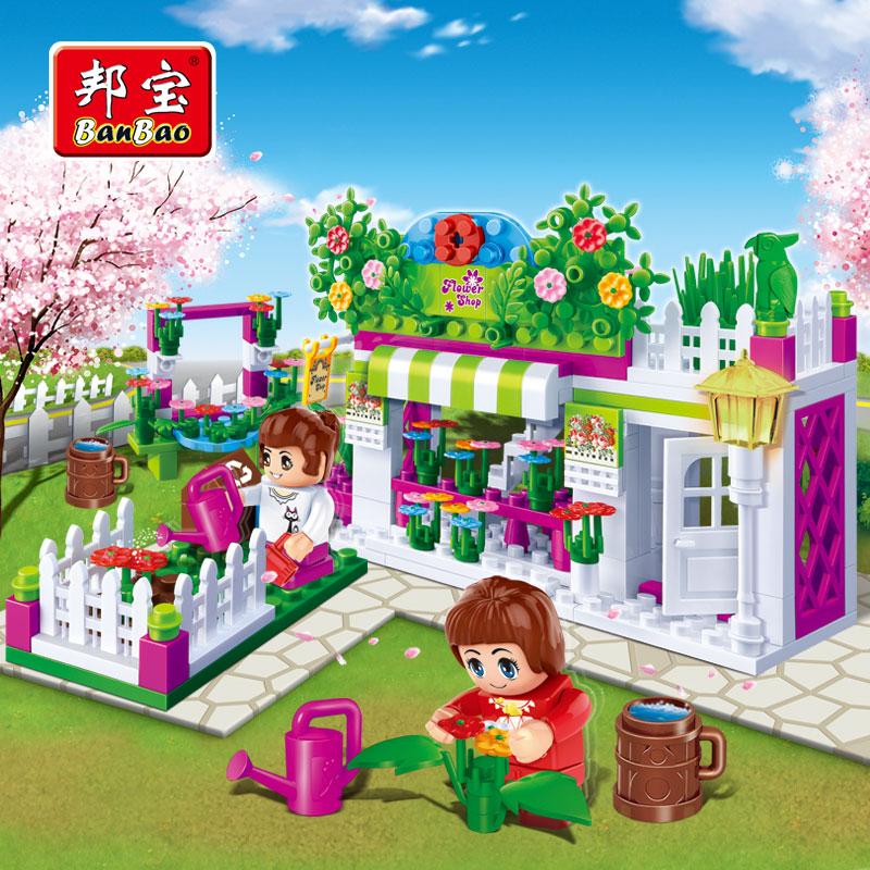 BanBao 252PCS Magic City Series Flower Store building modle blocks educational&enlighten bricks princess simulation Minifigures(China (Mainland))