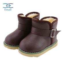Зимний мех детская обувь мальчиков детские зимние сапоги девушки короткие сапоги резиновая подошва анти-слип девочка теплые сапоги обувь EMD