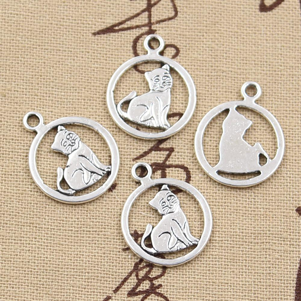 Wholesale 120pcs Charms cat 19*19mm Antique pendant fit,Vintage Tibetan Silver,DIY for bracelet necklace(China (Mainland))