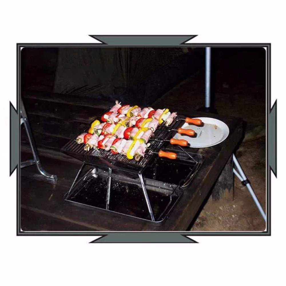 8pcs Stainless Steel BBQ Grilled Skewers Needle Barbecue Camping Cooking New Arrival<br><br>Aliexpress
