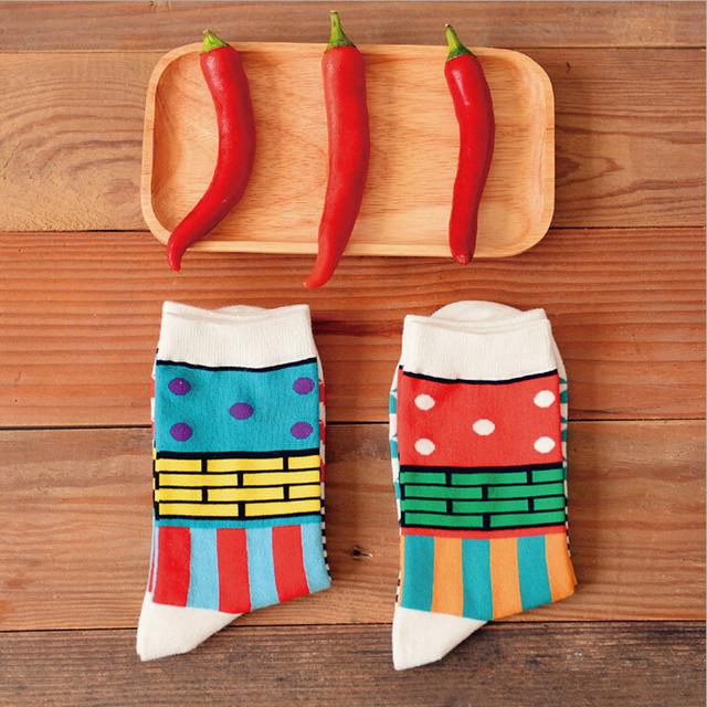 2015 новый Caramella зимние веселые графический длинные носки корейский новинка любителей красочные искусство носок хип-хоп хлопок для мужчин и для женщин