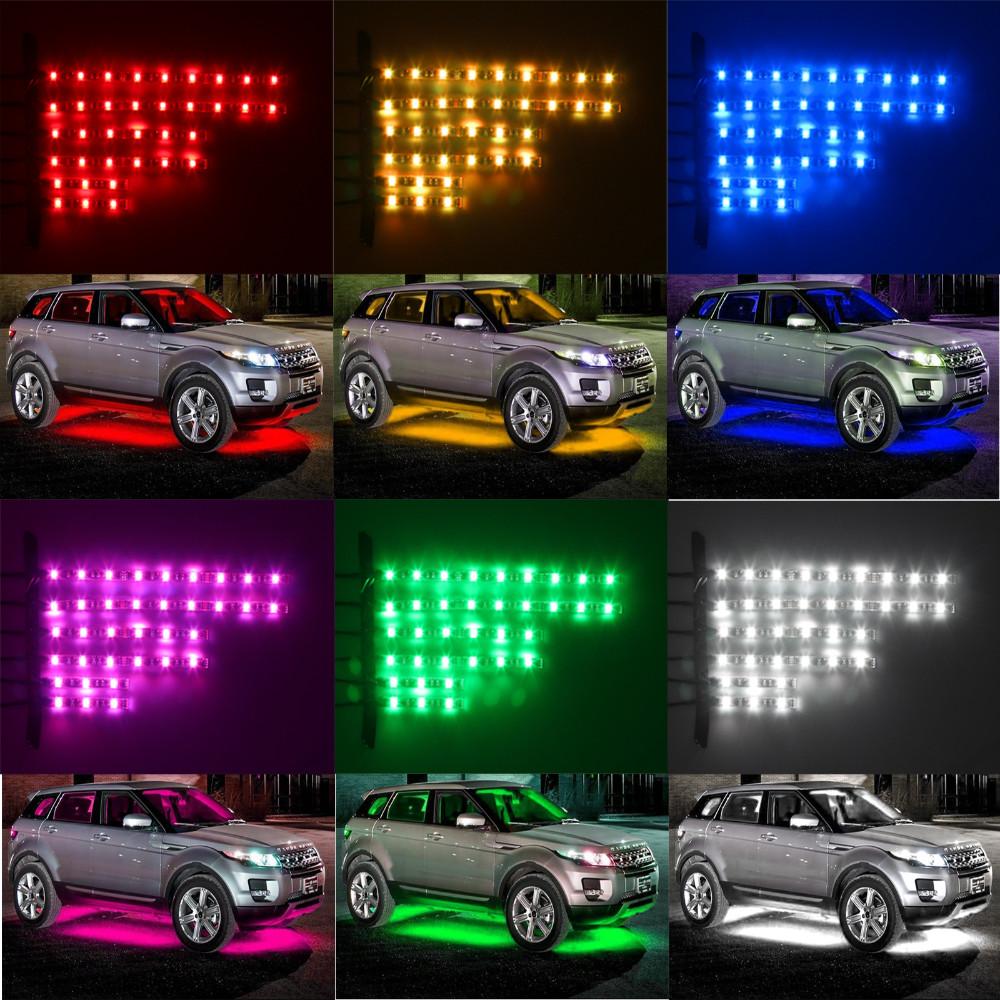 Купить 12 В 6 ШТ. RGB 5050SMD СВЕТОДИОДНЫХ Автомобилей Мотоцикл Glow Огни Гибкий Неон Полосы Комплект Chopper Кадр С Пульта дистанционного управления Многоцветный