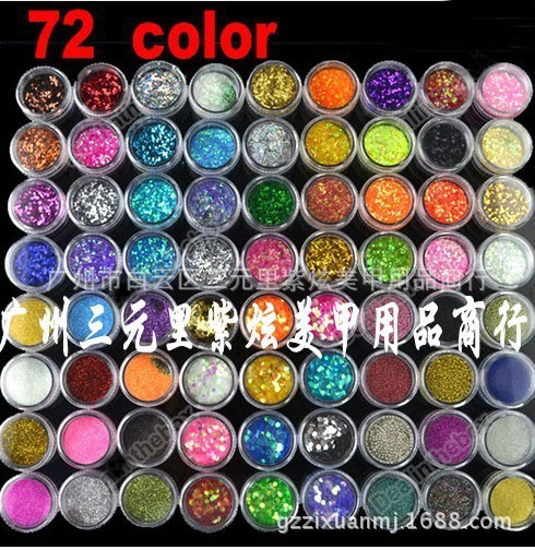 PLE -Glitter Powder 72 Pots Nail Art Color 6 Kinds of Nail Art Glitter Decoration Crush Shell Bead Colorful Spangles for Nails(China (Mainland))