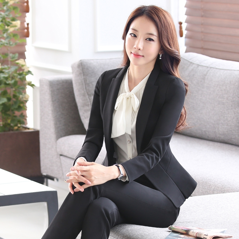 New 2017 Women Interview Formal Work Office Long Sleeve Coat Pant Suits OL Slim V-Neck Business Blazer Slim Suit S-4XL W192