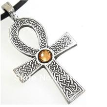 Alloy colorful crystal ankh religious pendant necklaces, 30pcs a lot, free ship